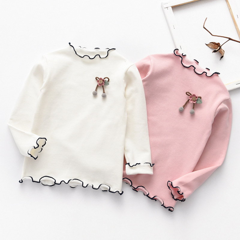 3-8T Girls Winter Knitted Sweaters Pullover Pink Flower Winter Autumn Girls Sweaters Knit Floral Cute Casual Children Clothing 1