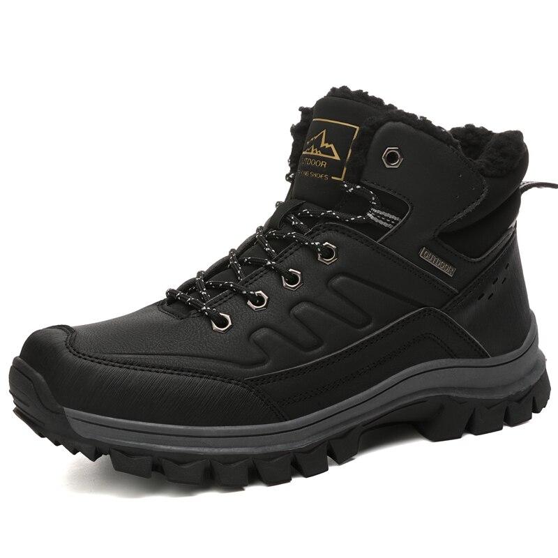 Marque hiver hommes bottes de neige chaud en peluche hommes bottes en cuir imperméable bottines en plein air anti-dérapant hommes randonnée bottes baskets