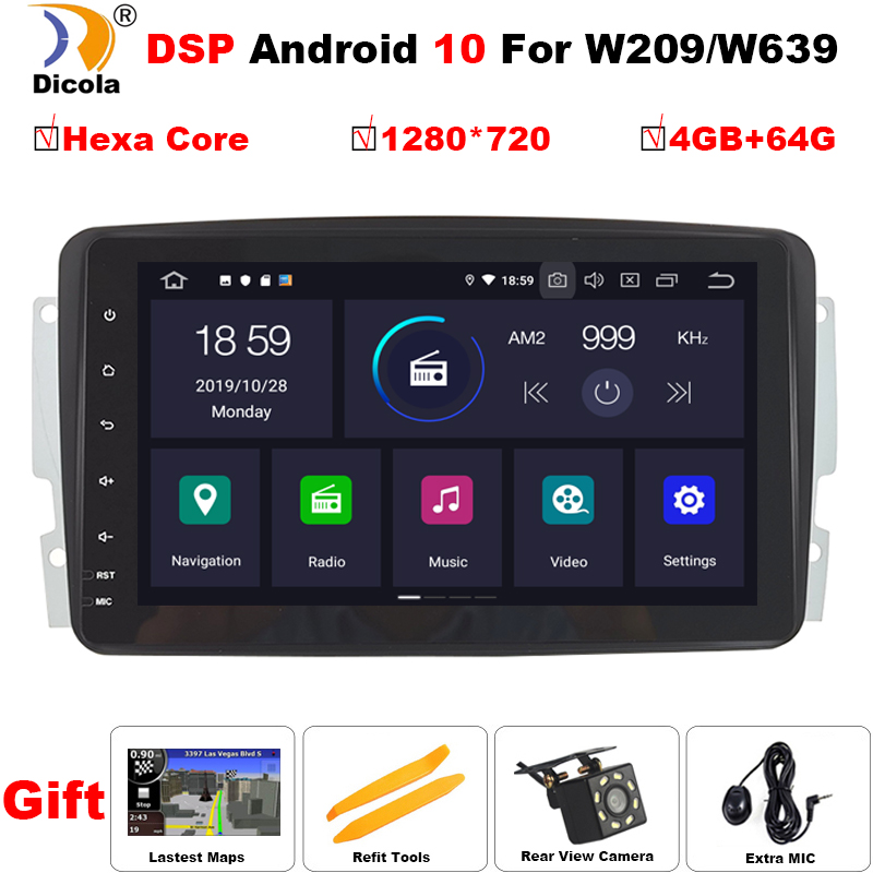PX6 2 Din 8'' Android 10 DSP Car DVD For Mercedes Benz CLK W203 W208 W209 W210 W463 Vito Viano 2din auto radio stereo with dsp