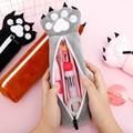 Мягкий плюшевый Каваий чехол-карандаш для девочек  милый чехол на молнии с медвежьими лапами  сумка для детских канцтоваров  Подарочные шко...