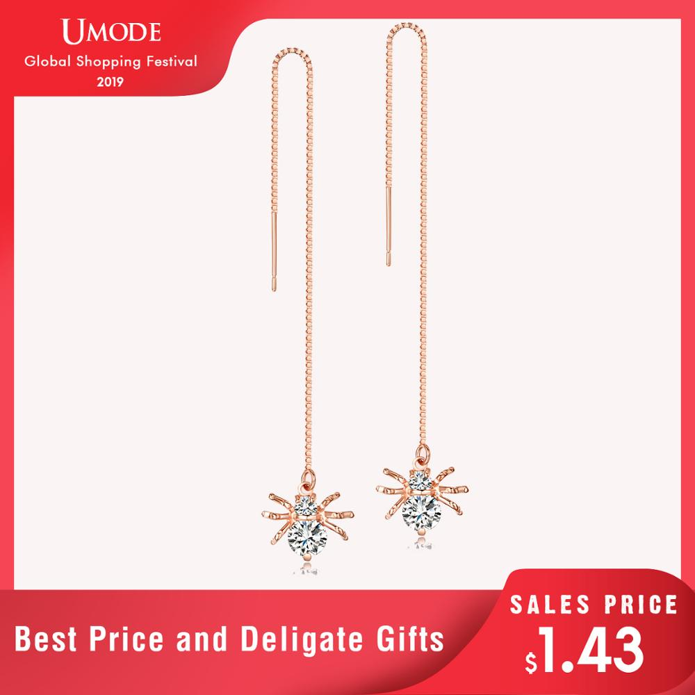 UMODE Spider Shaped Drop Earrings 18K Rose Gold Plated Round Cut AAA CZ Diamond Long For Women Fashion Jewelry AUE0175