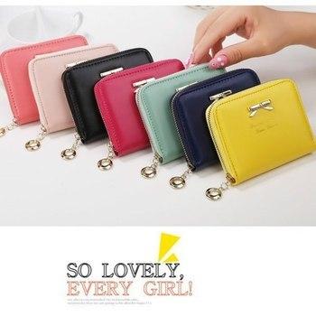 Кошелек, бумажник с бантиком, женские милые короткие держатели для кошельков, женская сумка для денег, кавайная сумка, Женская портативная маленькая сумочка с бантом для девочек