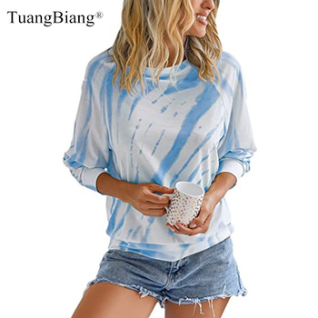 Women 2020 Long sleeve Tie-dye O-Neck Winter T-shirts Lady Print striped Casual Fashion Plus size Autumn Blue Gray Tops - discount item  37% OFF Tops & Tees