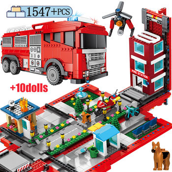 1547pcs City Police Station Car Building Blocks for Fire Deform Truck Fireman Figures Bricks Toys for Children Gift