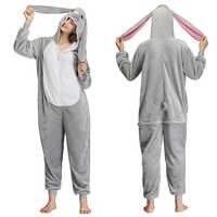 Tier Nachtwäsche Kigurumi Onesies Pyjamas Lange-ohr Kaninchen Insgesamt Kostüm Pyjamas für Unisex Erwachsene
