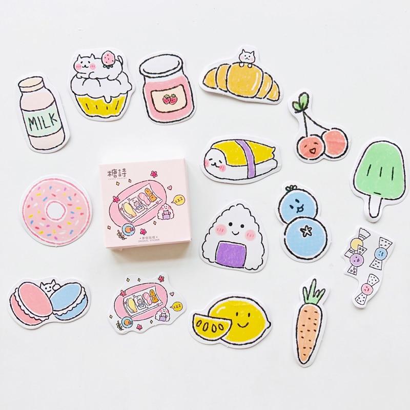 45 Pcs /Box Happy Little Snack Bread Sushi DIY Decorative Stickers Stick Label