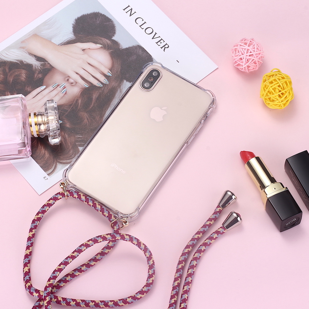 Strap Cord Chain Phone Tape Necklace Lanyard Mobile Phone Case For IPhone 7Plus 8Plus Carry Cover Case To Hang On Apple 7+ 8plus