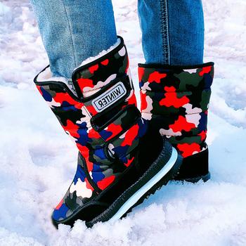 Kamuflaż śniegowce damskie zimowe odkryte antypoślizgowe para butów wodoodporne wełniane ciepłe buty kobiece bawełniane połowy łydki 36-47 tanie i dobre opinie NIDENGBAO CN (pochodzenie) Płótno FEATHER UC10118 Dla dorosłych Mieszkanie z Buty śniegu Syntetyczny Okrągły nosek