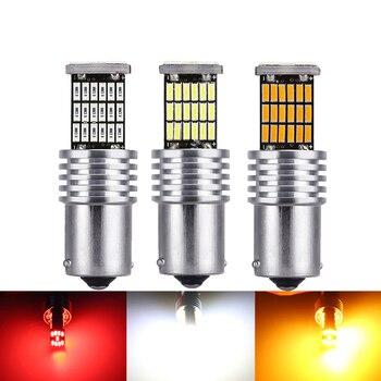цена на 2pcs Car T20 7440 7443 LED Bulbs Canbus LED 1156 P21W BA15S LED 1157 BAY15D 3156 3157 For Brake Reverse Light Turn Signal 12V