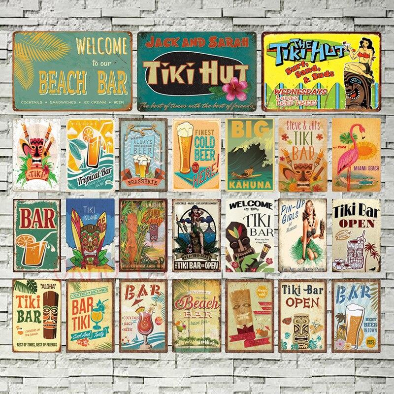 Tiki Bar Wall Decor Metal Sign Plaque Metal Summer Beach Metal Plate for Tiki Bar Beach Bar Decorative Iron Painting(China)