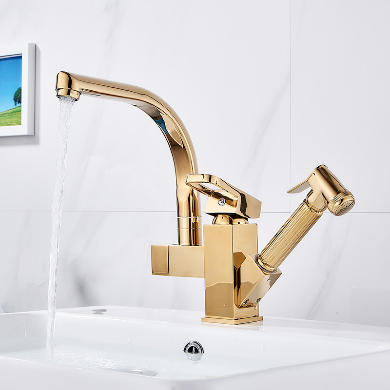Gold Sink Mixer Washer Household Single Handle Metal Cold and Hot Dishwasher Kitchen Sink Faucet Pull Out 360 Rotation