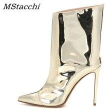 Mstacchi mulheres inverno botas de couro de patente mulher apontou dedo do pé fino sapatos de salto alto senhoras sexy metal botas de tornozelo dourado para mulher