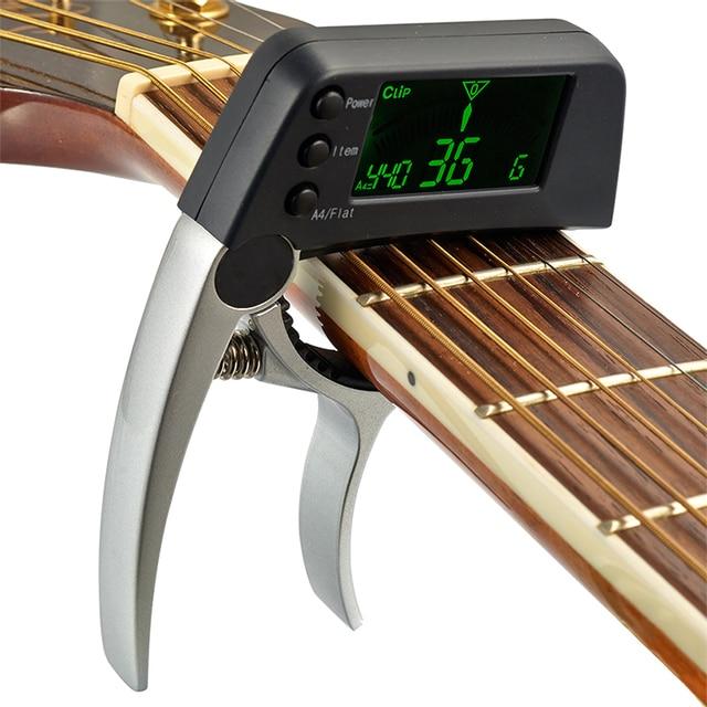 Фото гитарный капо тюнер 2 в 1 с жк зажимом для акустических народных цена