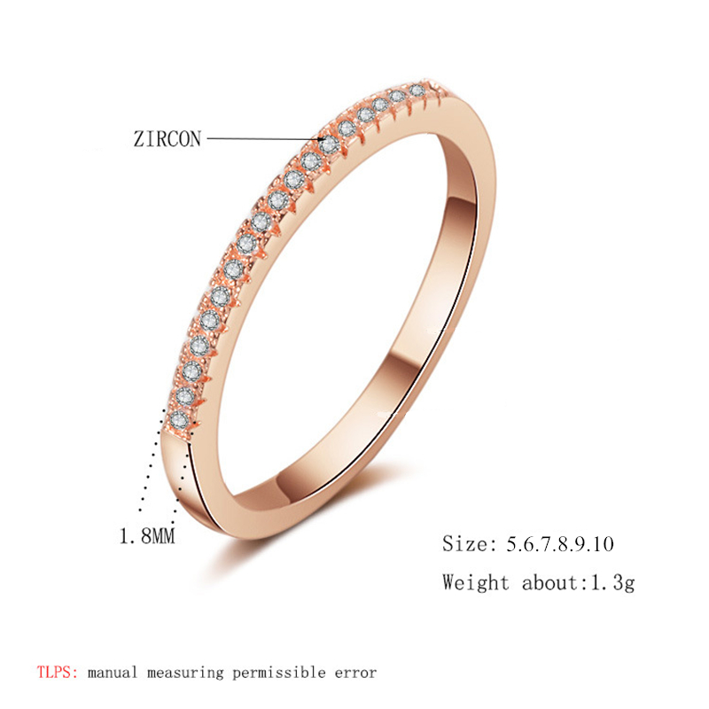Simple Cubic Zirconia Thin Rings for Woman Elegant Rose Gold color Bridal wedding Party Finger Jewelry girl Gift 6