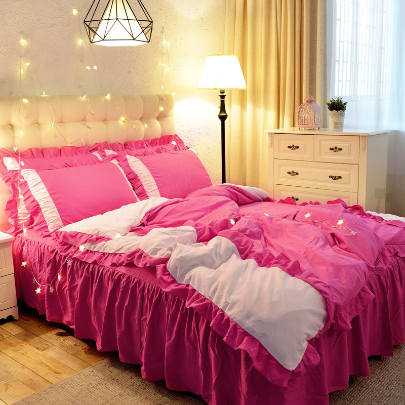 1.5/1.8/2.0m Home Bedroom Bedding Set Duvet Cover Pillow Cases Sheet Four Pieces Set Sweet Princess Style 5