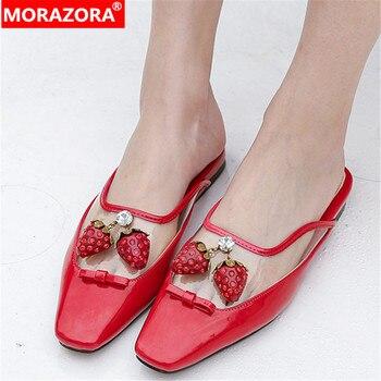 MORAZORA 2020 top quality patent leather women slipper square toe transparent pvc flat shoes comfortable casual shoes female