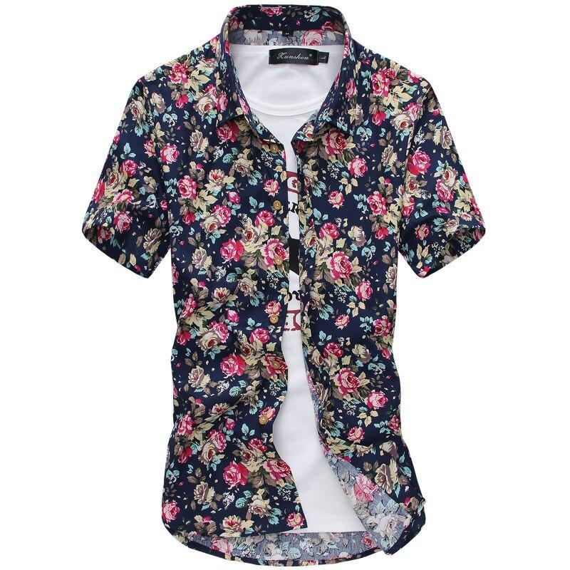 Рубашка с короткими рукавами из хлопка с принтом уличная рубашка Camisa Masculina гавайская рубашка уличная Chemise Homme рубашки для мужчин Camisas Лидер п...
