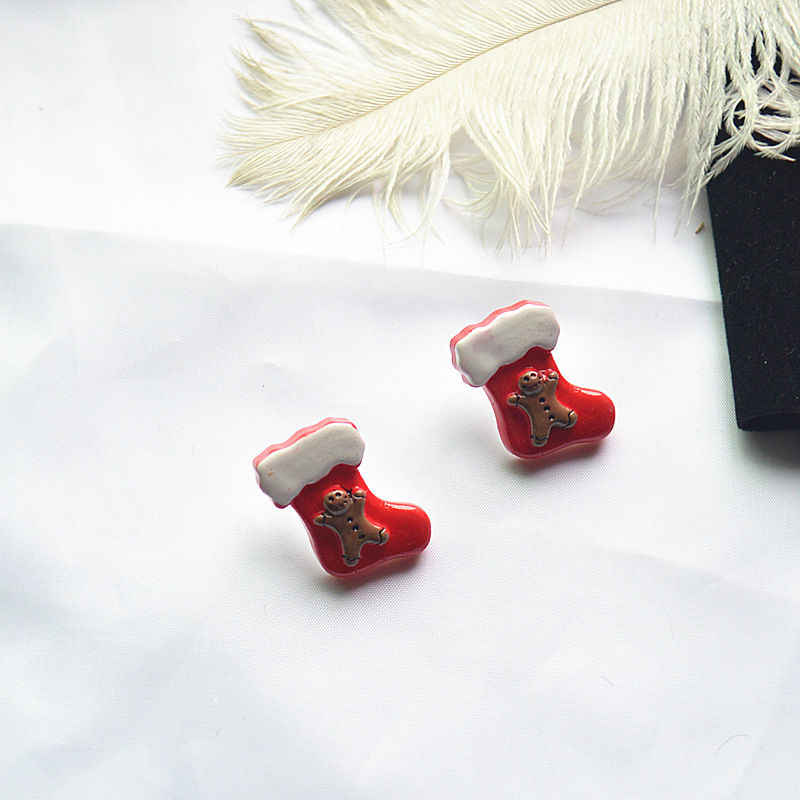 Lucu Natal Wanita Anting-Anting Resin Merah Rusa Telinga Post Stud Anting-Anting Perhiasan Istri Gadis Hadiah untuk Tahun Baru 25 Mm, 1 Pasang