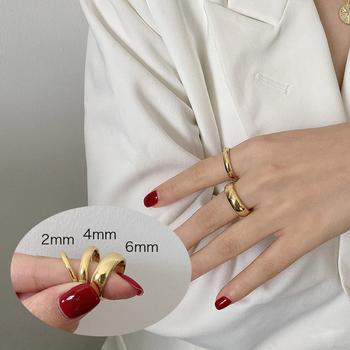 Klasyczna obrączka ślubna dla kobiet gładka biżuteria ze stali nierdzewnej w kolorze złotym tanie i dobre opinie Meaeguet CN (pochodzenie) STAINLESS STEEL Kobiety Metal Klasyczny Zespoły weselne ROUND Wszystko kompatybilny Other(Other)