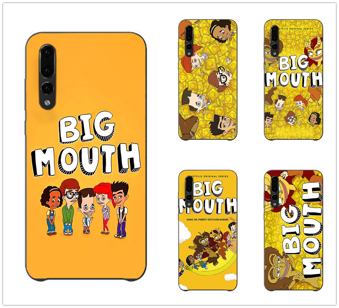 Big Mouth cartoon lovely Fashion New Black phone case For Sotf Silicone TPU huawei p20 p30Lite p10 p9 p8 series aesthetic Coque in Half wrapped Cases from Cellphones Telecommunications