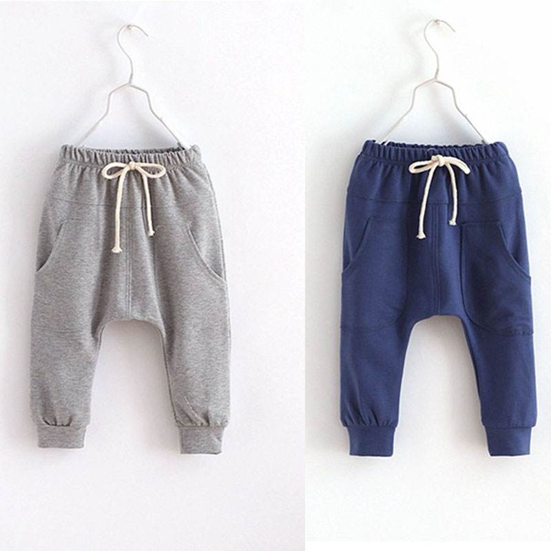 New Kids Baby Boys Girls Casual Harem Pants Elastic Waist Sports Pants Trousers Long Length Pants