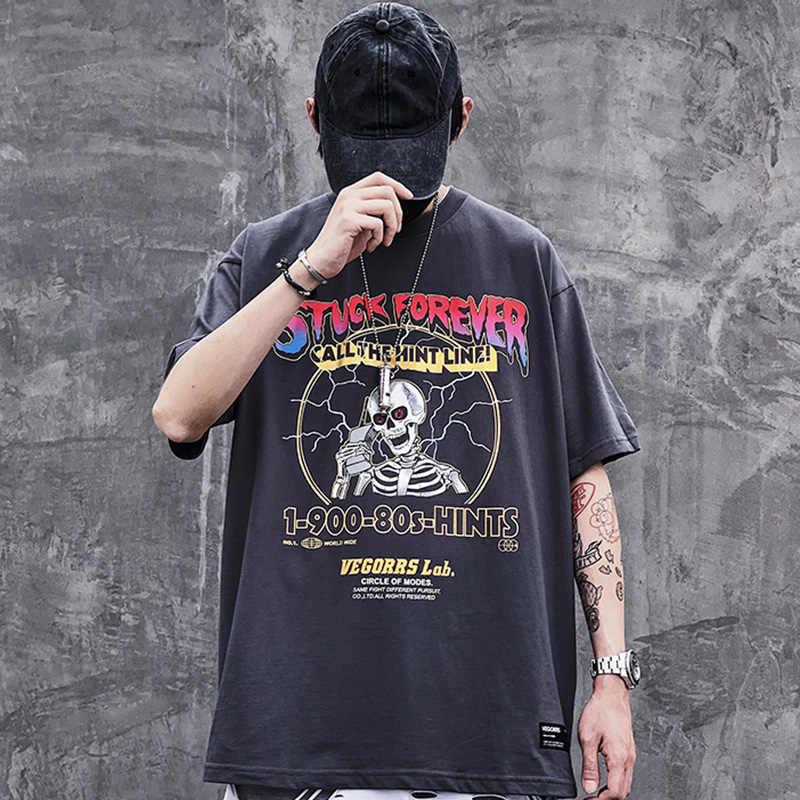 היפ הופ T חולצה גברים 2020 Streetwear הדפסת ברקים גולגולת חולצת טי Harajuku קיץ חולצות Tees קצר שרוול כותנה שחור חולצה