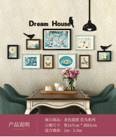 American photo wall frame combination solid wood photo wall decoration punch wash free
