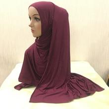 H1393 стиль большой размер мягкий хлопок Джерси Блеск длинный шарф для мусульманки женские исламские головные уборы