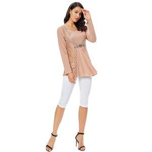 Image 2 - YTL בתוספת גודל נשים חולצה בציר אביב סתיו פרחוני הסרוגה תחרה למעלה כותנה שרוול ארוך טוניקת חולצה חולצה 6XL 7XL 8XL H025