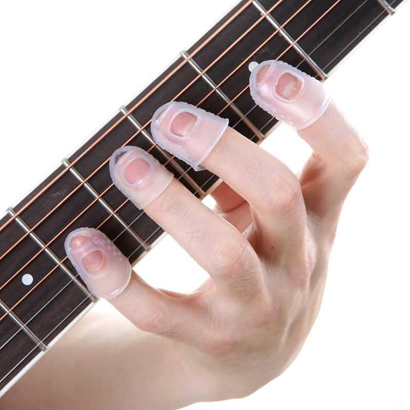 4 ピース/セットシリコーン指ガードギターウクレレギターsmlため指先プロテクター透明ブルー色