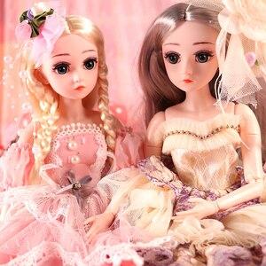 Image 2 - UCanaan BJD bebek 1/4 SD bebekler 18 inç 18 top eklemli bebek giysileri kıyafet ayakkabı peruk saç makyaj en iyi kızlar için hediye