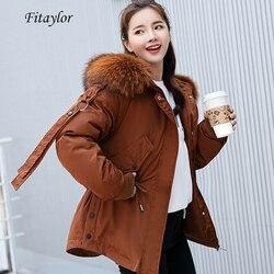 Fitaylor Parkas Mujer 2020 Short Winter Jacket Women Hooded Winter Coat Women Loose Parka Fur Collar Cotton Padded Jacket