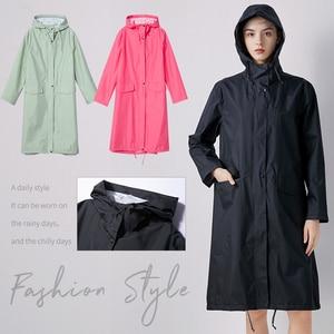 Image 5 - Womens Stylish Solid Yellow Rain Poncho Waterproof Raincoat with Hood and Pockets