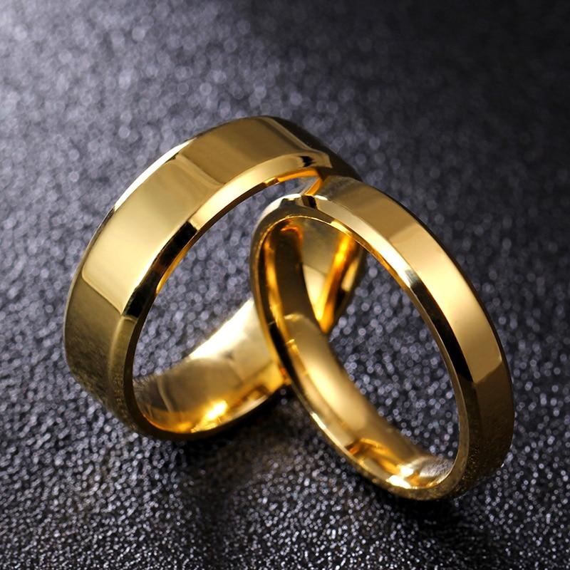 Anel de titânio polonês, 4mm, 6mm, 8mm, brilhante e macio, para homens e mulheres, casal