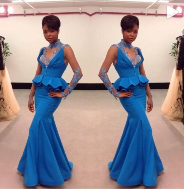 African Blue Lace Long Sleeeves High Neck Mermaid Prom Gown 2018 Vestido De Longo Off The Shoulder Mother Of The Bride Dresses