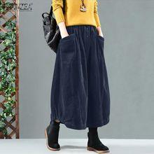 Skirts ZANZEA Vintage Corduroy Elastic-Waist Women Solid Faldas Saia Jupe Vestidos Loose