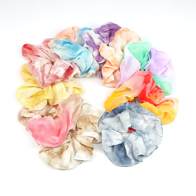 New Pattern Rainbow Scrunchies Woman Chiffon Hair Ties Tie Dyeing Colorful Schrunchies For Girls Fashion Skranchy