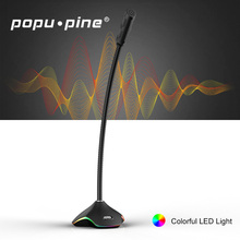 Popu Pine USB Microphone Condenser Recording Microphone USB LED Lights Noise Cancelling