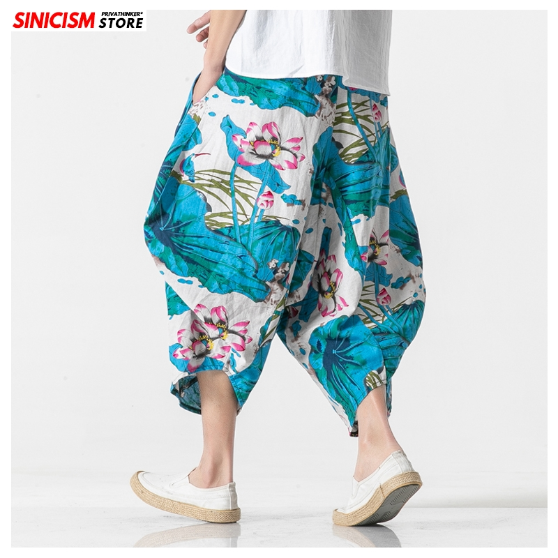 Sincism Store Summer Flower Prined Men Summer Wide Leg Pants 2020 Chinese Style Man Ankle-Length Cross-Pants Casual Baggy Pants