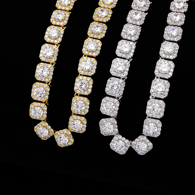 10MM Quality Prong Set Big Size Solitaire Tennis Chain Necklace Mens Iced Out  Bling CZ Charm Hip Hop Fashion Jewelry 18″ 22″