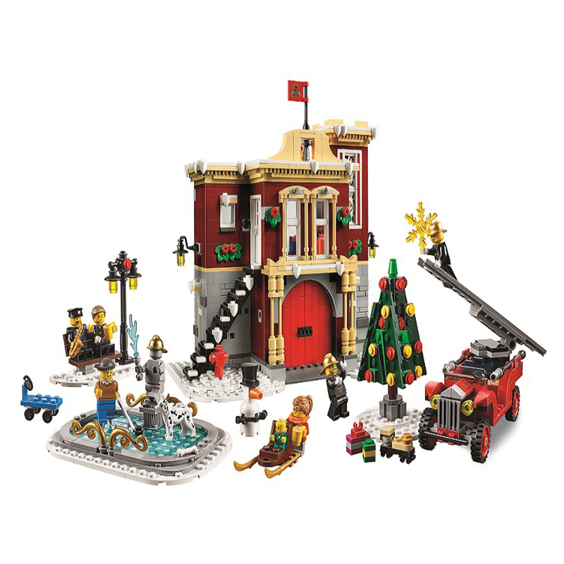 bela 11041 10263 1197Pcs New Create Christmas Winter Village Station Model Building Blocks With Friends Christmas Toy Gifts image
