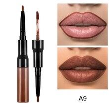 NEW Double Headed Makeup Lipstick Long Lasting Pigments Waterproof Matte Liquid Pen Lip Liner Gloss Nude Tool