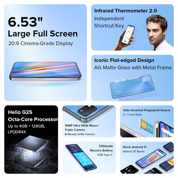 """[In Stock] UMIDIGI A11 Global Version Android 11 Smartphone Helio G25 64GB 128GB 6.53"""" HD+ 16MP Triple Camera 5150mAh Cellphone 2"""
