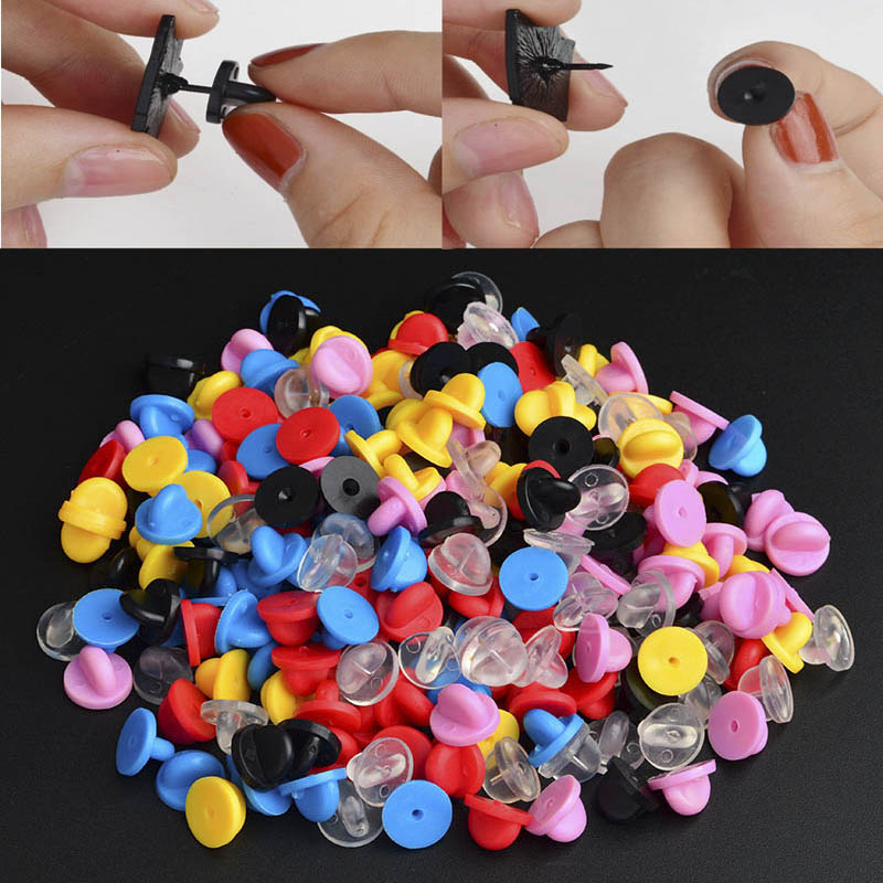 50 Metal/ Rubber Pins Back Replacement Comfort Fit Butterfly Clutch Brooch For Diy Jewelry Fashion Brooch  Back Caps Accessories