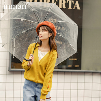 INMAN 2020 Autumn New Arrival V Neck Interesting Contrast Color Embroidered Women Cardigan Knitwear - discount item  59% OFF Sweaters