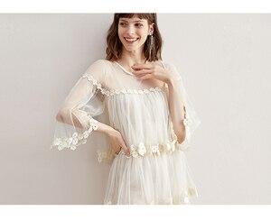 Image 1 - Flare kol kanca çiçek gevşek orta uzunlukta etek mizaç ekleme mesh kek etek elbise