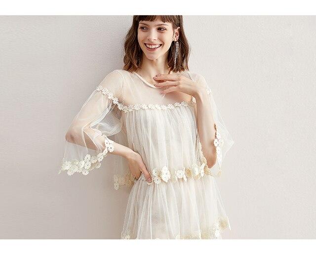 Flare kol kanca çiçek gevşek orta uzunlukta etek mizaç ekleme mesh kek etek elbise