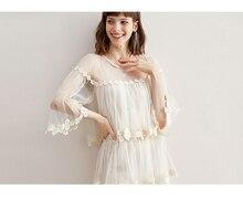 Flare manga gancho flor suelta longitud media falda temperamento empalme malla pastel falda vestido