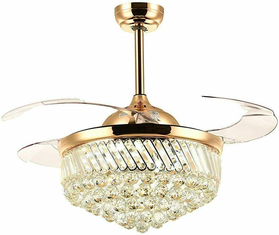 36 Inch Luxury Crystal Remote Control Gold Ceiling Fan Light With Three Color Change Led Retractable Blades Chandelier Decor Ceiling Fans Aliexpress