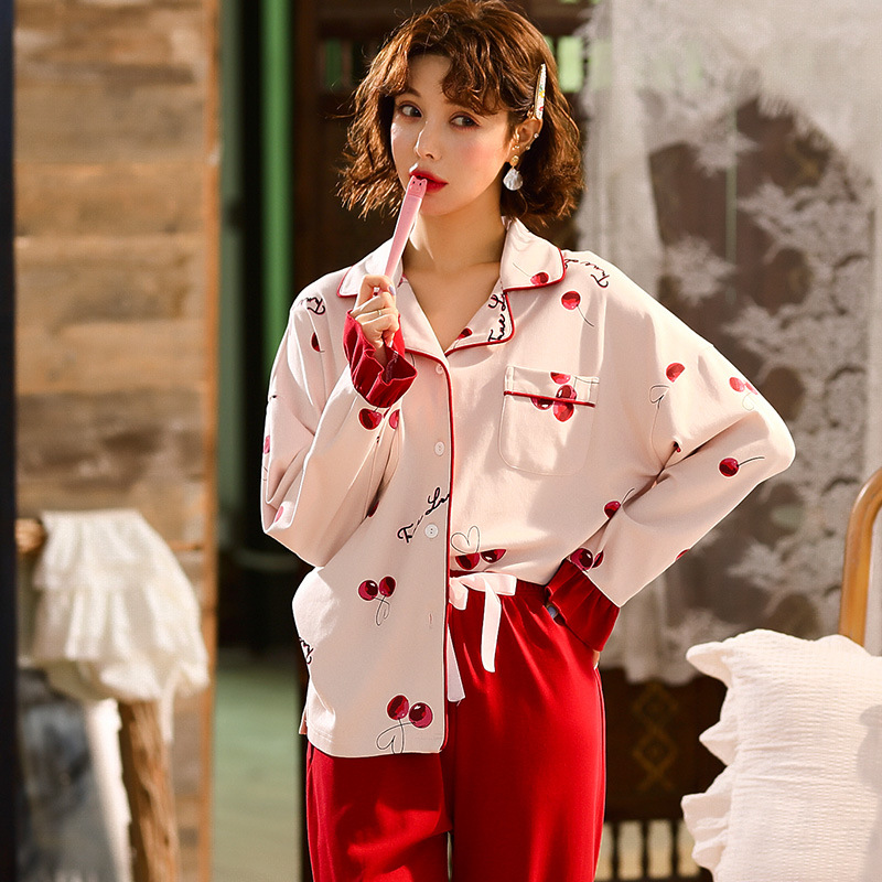FallSweet Cotton Womens Pajamas Set Cute Cherry Red Turn-down Collar Ladies Sleepwear Underwear
